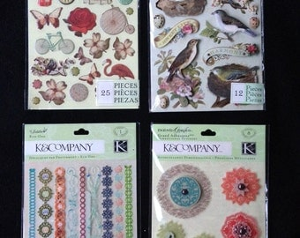 K&Co. Stickers and Rub-ons, pkg of 4, Engraved Garden, Brenda Walton Flora and Fauna, Jubilee Border, planner, pocket letter, card making
