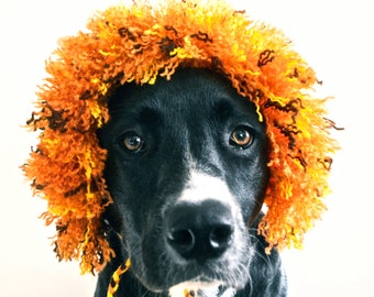 Lion Costume for Dogs - Half Mane - Hand Knit Dog Hat - Custom Sizing