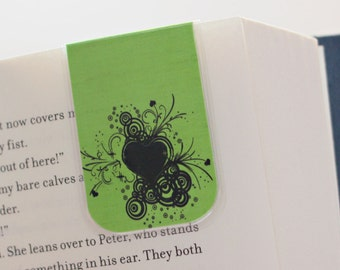 Magnetic Bookmark, Laminated Bookmark, Lime Green, Black, Heart Design, Love, Ready to Ship