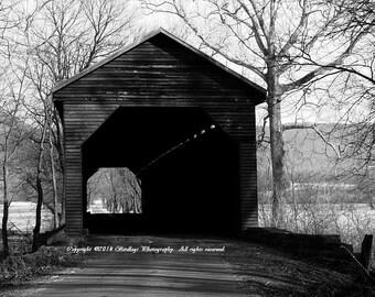 Covered Bridge in Black and White - Meems Bridge, VA