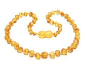 Baltic Amber Teething Necklace - Raw Dark Lemon - Made in Canada