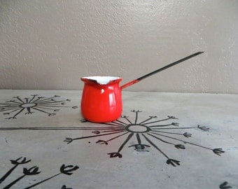 Red Enamel Turkish Pot Butter Warmer Enamelware Turkish Coffee Saucepan Halloween Decor Orange