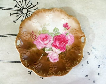 Hand Painted Plate C T Germany Rose Plate Rose Platter Pink Roses Ornate Plate Serving Plate Decorational Plate Porcelain Plate