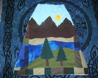 Mountain scene hippie style patchwork skirt