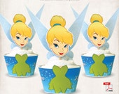 INSTANT DOWNLOAD, Printable Tinker Bell Cupcake Toppers & Wrappers, Digital File, Neverland, Fairies, Peter Pan