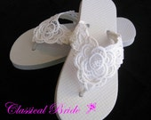LACE EMBROIDERED Wedding Bridal Flip Flops in Ivory or White for Wedding Party Bride Bridesmaid Maid of Honor Beach Flip Flops Sandals Shoes