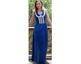 Denise Are Here Vintage Velvet Long Maxi Dress with Embroidered Trim Lace Cotton Royal Blue