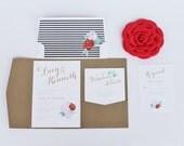 Rose - Floral Wedding Invitation Suite - Set of 25