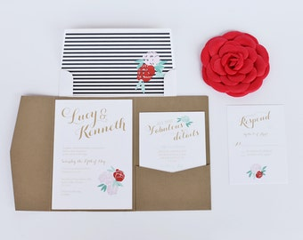 Rose - Floral Wedding Invitation Suite - Sample