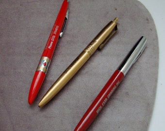 ADVERTISING PENS, lot of 3 different ballpoint pens, from same  So.Calif. tool grinding shop