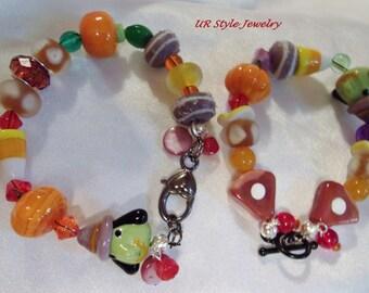 Pumpkins, Lampwork, Ceramic, Candy Corn Crystal Halloween Bracelets