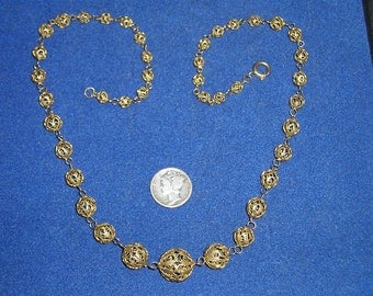 Vintage Silver Filigree Necklace 1940's Signed 835 Jewelry 2253