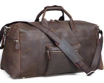 Bestseller Travel bag Extra large dark brown distressed genuine leather duffel bag for travel or work