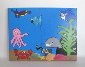 Canvas Painting, Large Canvas Art, Kids Canvas, 24x36 Playroom Decor, Canvas Art, Playroom Art, Playroom Canvas, Underwater Painting