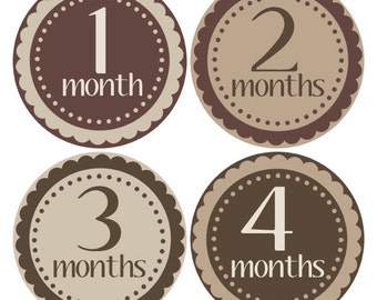 Brown Baby Stickers, Beige Monthly Stickers, Baby Photo Props, Bodysuit Month Stickers (205)