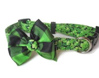 St. Patrick's Day Shamrock Dog Collar size Large