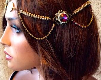 Swarovski Necklace, Vintage Necklace, Swarovski Chain Necklace, Pink Crystal Necklace, Estate Style Necklace, Old Hollywood Style, Crystal