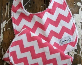 Hot Pink OR Baby Pink Chevron - Bib & Burp Cloth Gift Set - Zig Zag - Baby Girl - You Choose Color