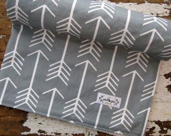 Grey Arrows Baby Blanket - Gender Neutral Baby Boy or Girl - Choose Chenille or Minky