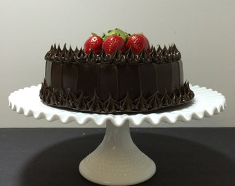 Vintage Milk Glass Pedestal Cake Plate -  Milk Glass Hobnail Pedestal Cake Plate Stand Wedding Cake Stand