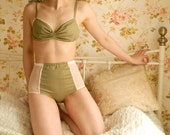 Handmade Green Polka Dot Vintage Inspired Soft Bra And High Waist Pantie Lingerie Set. U.K Size 8,10,12,14,16