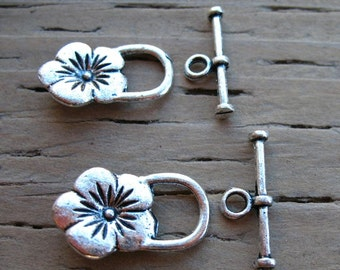 12 Silver Flower Toggle Clasps 22mm Antiqued Silver