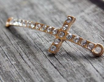 4 Gold Rhinestone Cross Connectors Curved 42mm