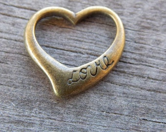 6 Bronze Heart Charms 17mm Open Heart Pendant