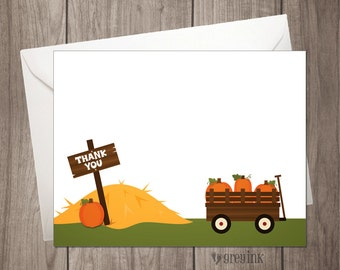 Pumpkin Patch Thank You Flat Notes - INSTANT DOWNLOAD