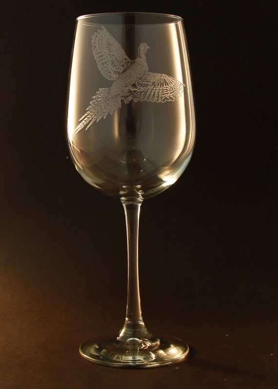 Etched pheasant on large elegant white wine glass set of 2 for Large white wine glasses