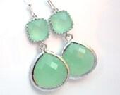 Silver Green Mint Earrings, Light Green Earrings, Silver Earrings, Wedding Jewelry, Bridesmaid Earrings, Bridal Jewelry, Bridesmaid Gifts