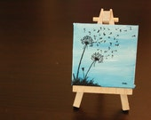 "Dandelion (Blue) Mini Painting 3x3"" Acrylic painting on Canvas"