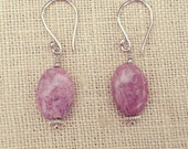 Rhodonite & Silver Earrings