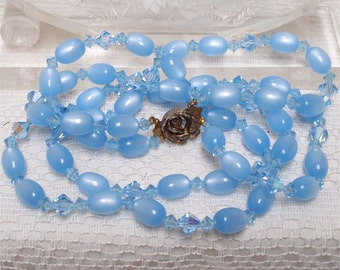 "21"" Baby Blue Moonglow Necklace AB Crystals"