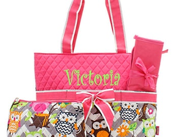 Personalized Owl & Chevron Print Diaper Bag Set - Monogrammed FREE Hot Pink Baby Girl Diaperbag Set