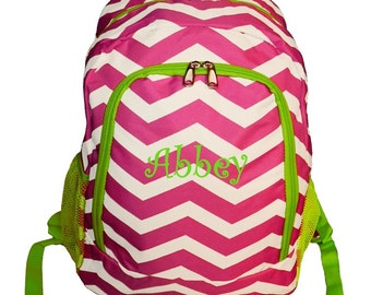 Personalized Chevron Backpack Girls Booksack Hot Pink and White with  Lime Trim Zig Zag Full Size School Backpack Monogrammed FREE