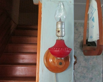 Retro Unusual Wall Light/Sconce, Wood and Glass Light, Home Decor, Child's Room, Wall Hanging, Lighting
