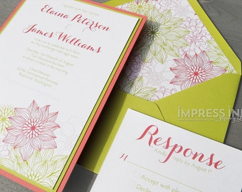 Floral Dahlias Wedding Invitation Sample | Flat or Pocket Fold Style