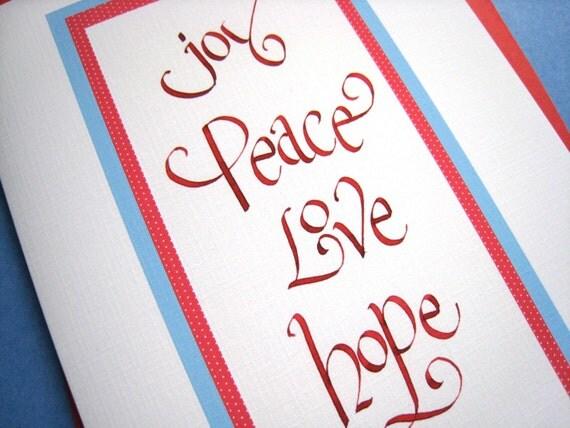 Calligraphy Christmas Card - Inspirational Hand Lettered Christmas Card - Joy Peace Love Hope