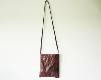 handmade small recycled leather brick red purse