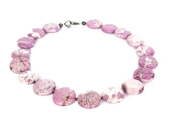 Unique Lilac Purple Magnesite Necklace & Matching Earrings -  Lilac Purple Statement Necklace - Purple Marbled Magnesite Necklace