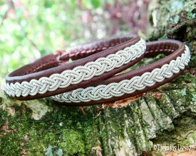 LIDSKJALV Sami Lapland Bracelet - Personalized Women and Mens Bracelet in Antique Brown Reindeer Leather with Braided Pewter and Antler