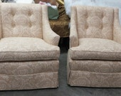 Deal of the Day - Great Pair of Taupe and Cream Patterned Armchairs - Totally Refurbished
