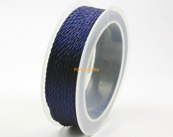 1 Roll 9 Yards 2mm Navy Blue Bracelet Cord Twisted Knit Cord (CORD08)