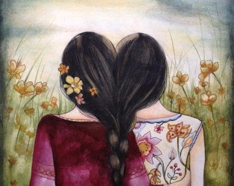Art print sisters best friends black hair