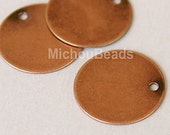 3 Antiqued COPPER Drops - 12mm Flat Round Blank STAMPING Disc Charm - Stamping Findings / Pendant / Coin - Instant Ship from USA - 5563