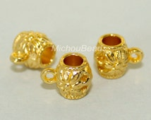 5 GOLD Charm HOLDER Bail - 8x7mm Tube w/ Flower and Loop - Large 3.5mm Hole Tibetan Style Holder - Instant Ship from USA - 5460