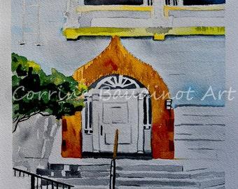 Watercolor painting of arch doorway door original fine art golden brick window