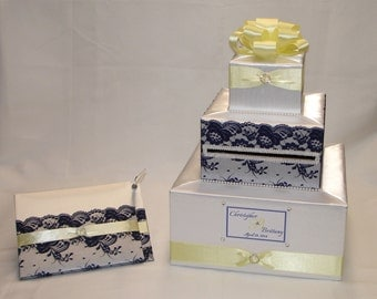 Elegant Custom made Wedding Card Box-Guest Book and Pen set-LACE design