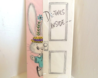 Vintage Cards Birthday Invitations Hallmark Unopened Bunny 12 Children's Envelopes 60's (item 12)